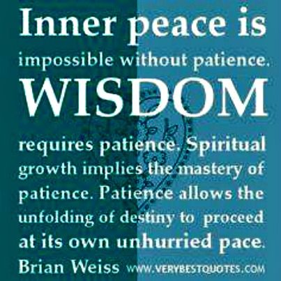 Inner peace is impossible without patience.  Wisdom requires patience.  Spiritual growth implies the mastery of patience.  Patience allows the unfolding of destiny to proceed at its own unhurried pace.  -Brian Weiss