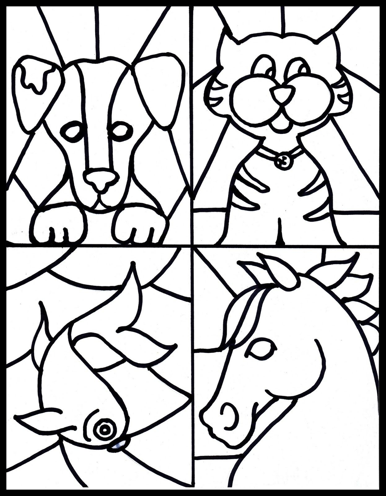 Free stained glass pet printable-Kid's craft to go with
