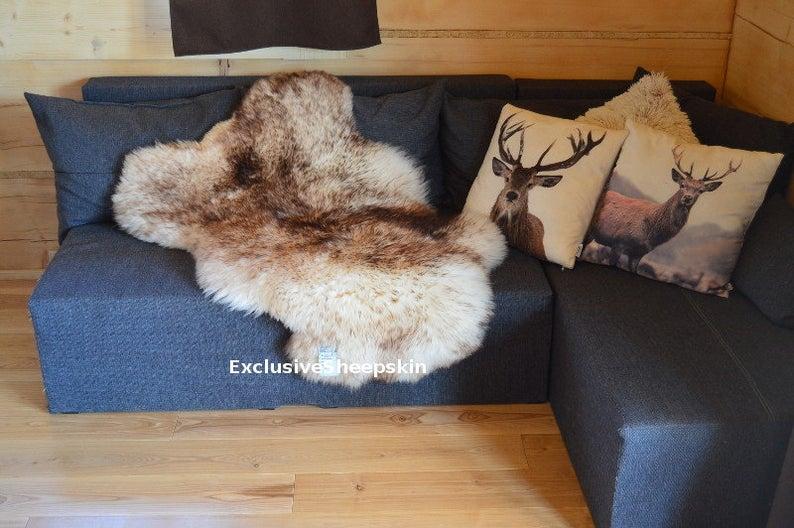Genuine White Brown Sheepskin Rug 100 Natural Color Soft Long Etsy In 2020 Sheepskin Rug Sheepskin Childrens Playroom