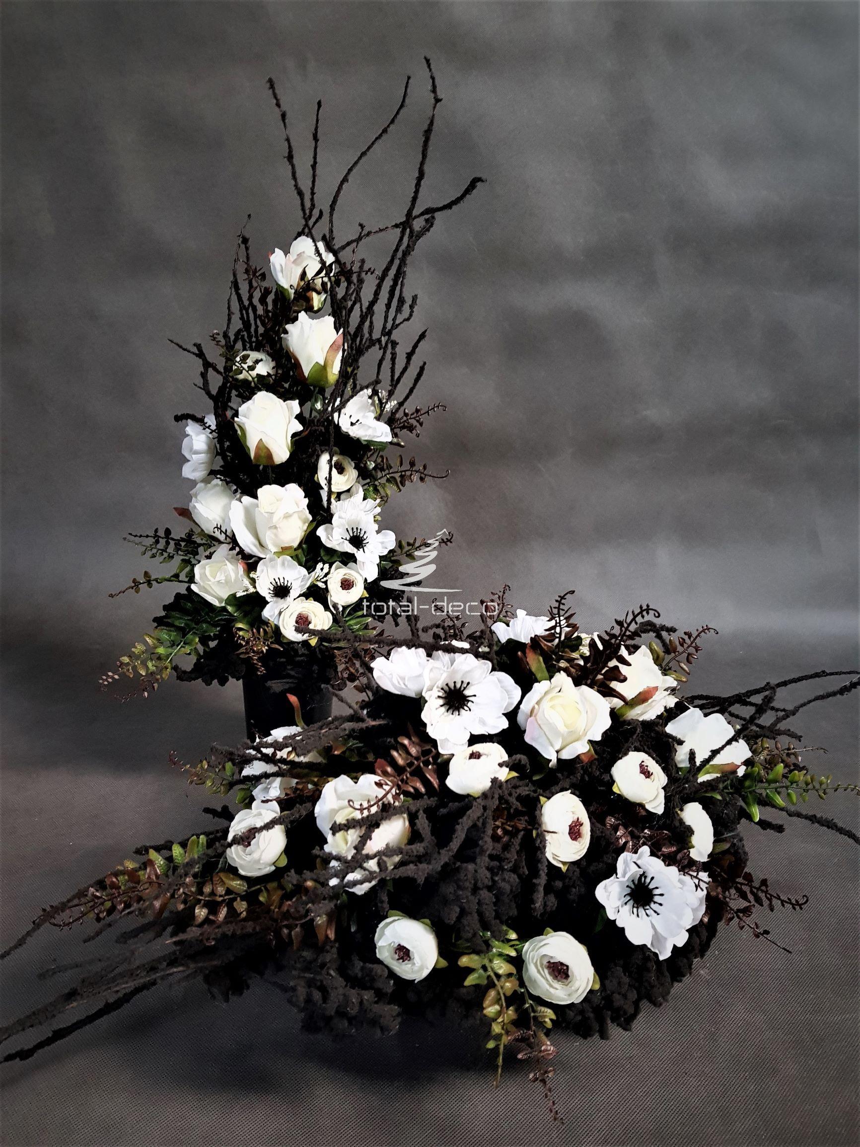 Zestaw Kompozycji Na Cmentarz Stroik Z Bukietem Do Wazonu Grave Decorations Flower Arrangements Flowers
