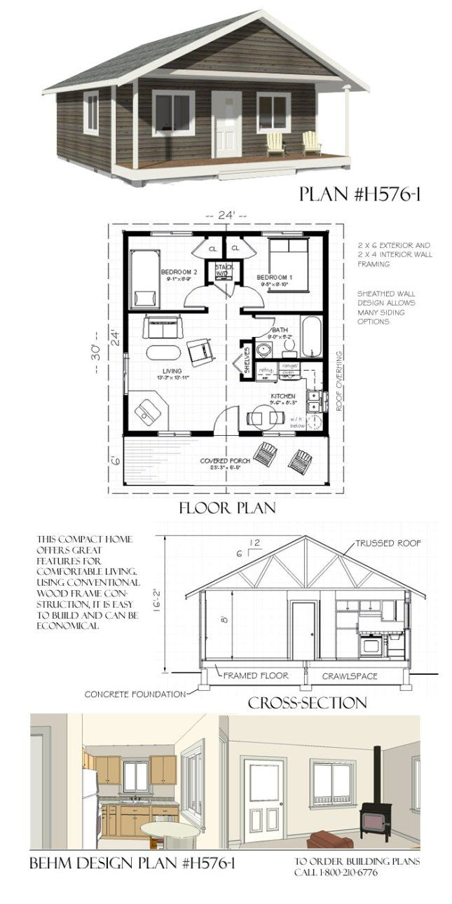 H5761 Lakeside Cottage 24 x 30 Behm Garage PlansBehm