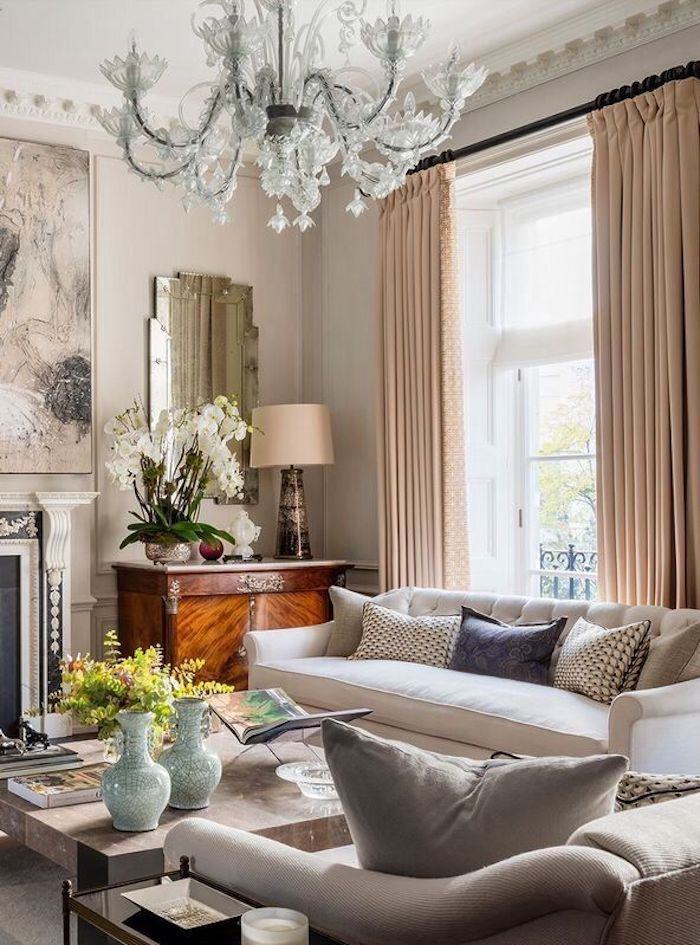 Decoration Salon Contemporain Idee Deco Moderne Cool Pour Le Lustre Baroque  Rideaux Roses Also Idees Et