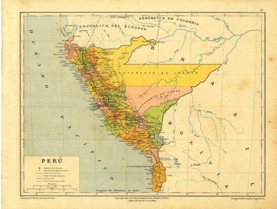 Peru Political Map 1899 Map Peru Anthropology Map Antique