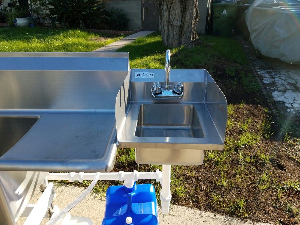 3 Compartment Sink With Hand Wash Station Hand Washing Station Bar Sink Market Stands