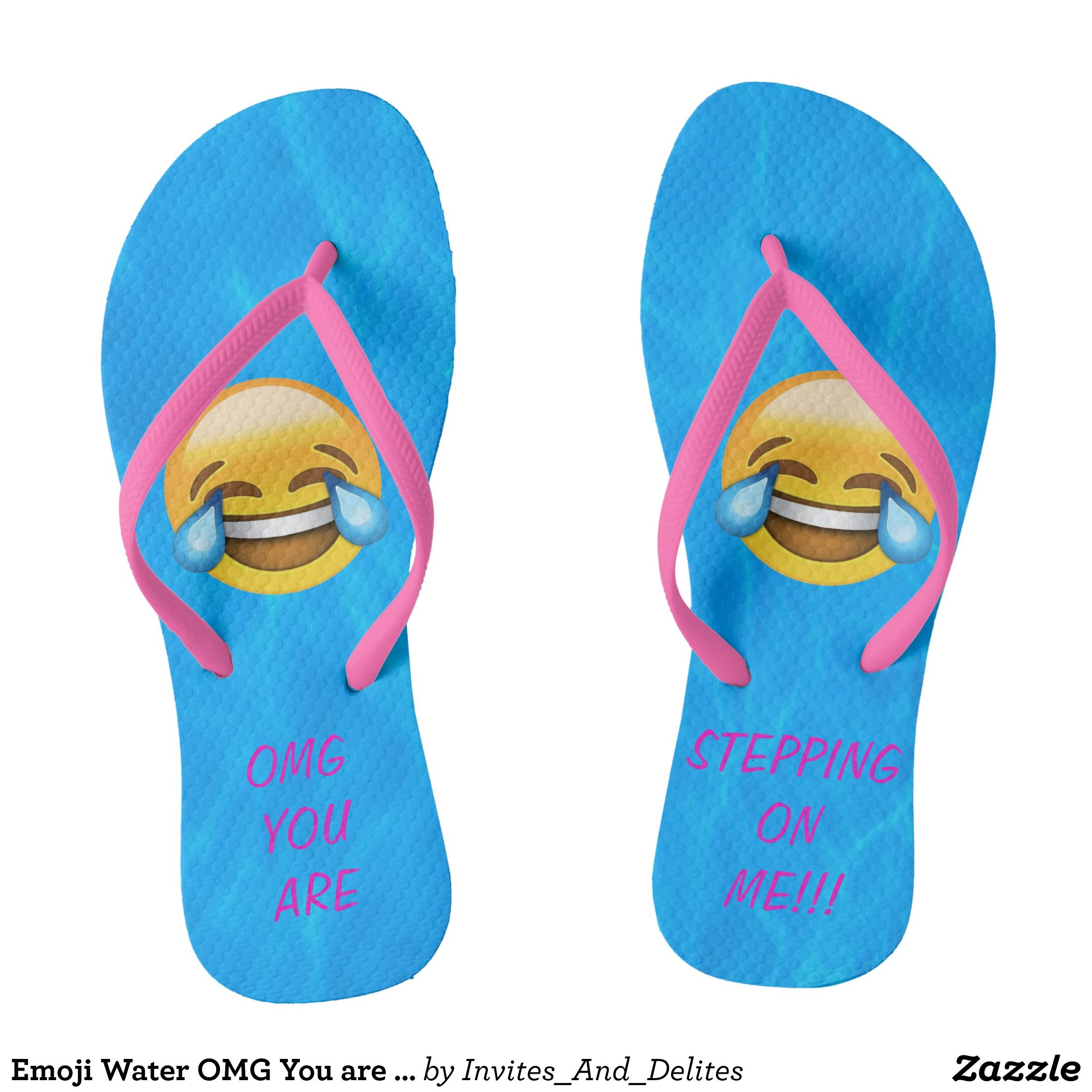 Emoji hearts - Flip Flops Funny Thong Sandals Beach Sandals