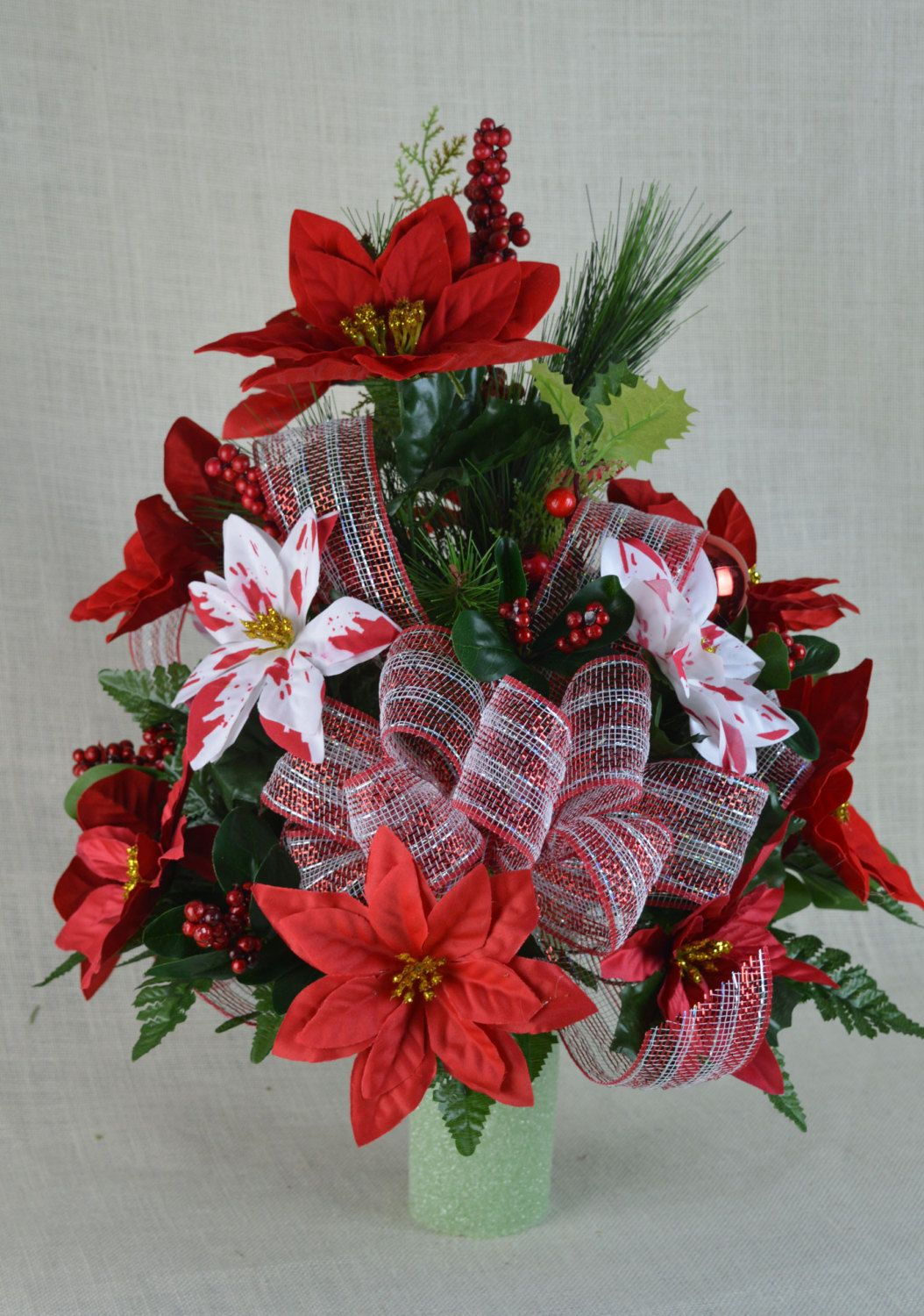 Fibre optic christmas flowers and xmas flowers - Cc005 Holiday Christmas Silk Flower Cemetery Cone Vase Arrangement Tombstone Saddle