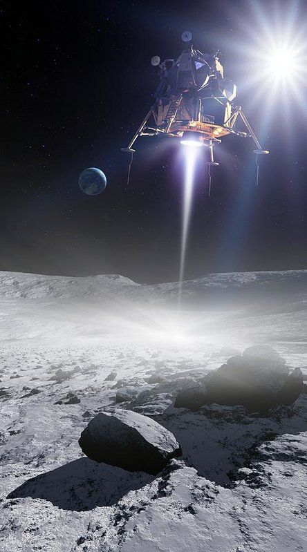 Apollo 11 Poster featuring the photograph Apollo 11 Moon Landing, Artwork by Detlev Van Ravenswaay