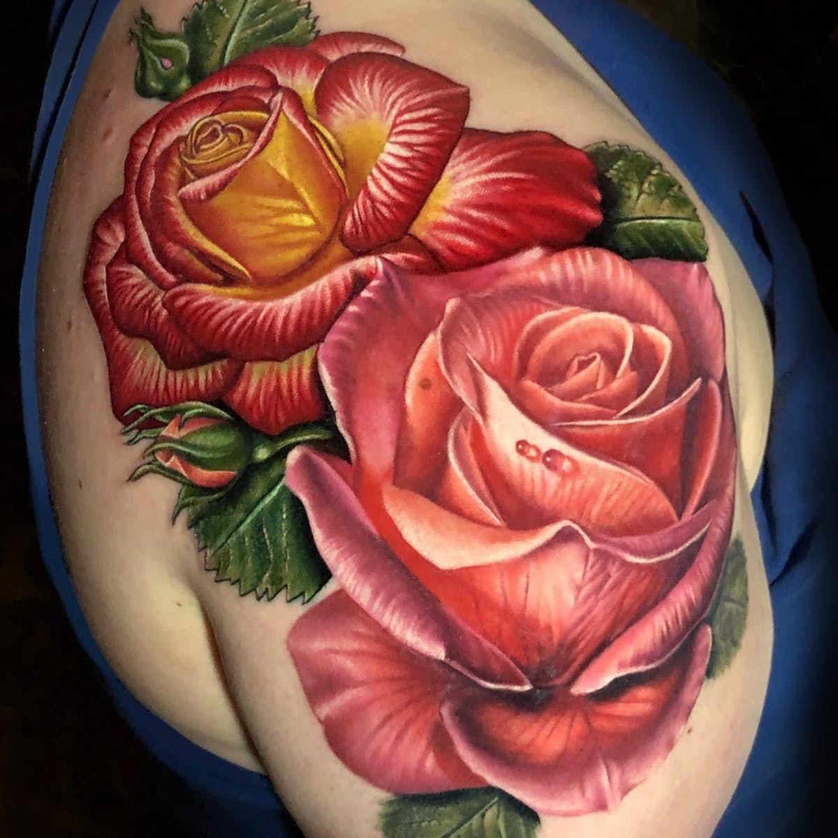 b8ecf8898 Realistic roses tattoo by Megan Massacre #MeganMassacre #besttattoos #color  #realism #realistic #hyperrealism #roses #rose #flower #rosebud #dewdrop  #leaves ...