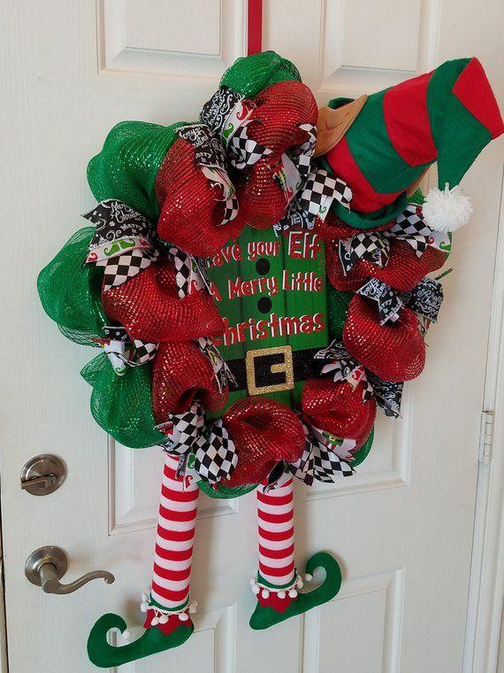 Photo of Elf Wreath, Front Door Wreath, Christmas Wreath, Deco Mesh Wreath, Holiday Decor, Home Decor