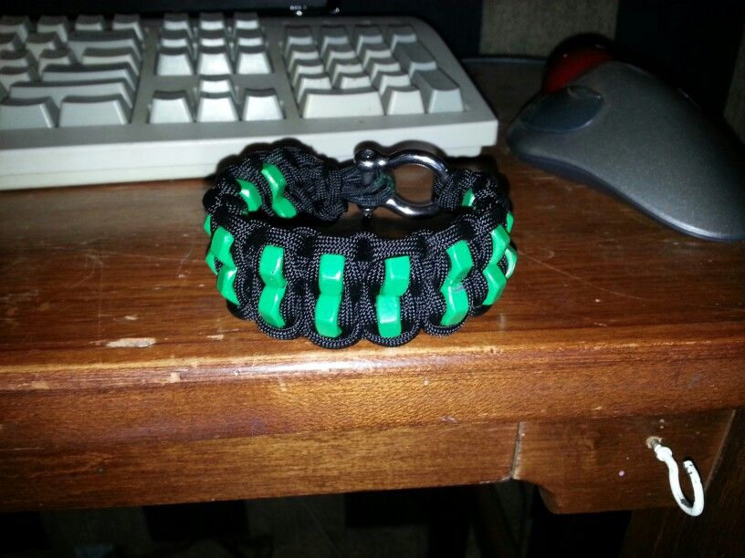 Blaze Bar Paracord Bracelet With Green Hex Nuts Writing