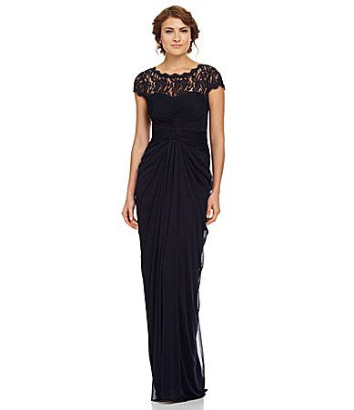 Adrianna Papell Draped Illusion Lace-Neckline Gown ...