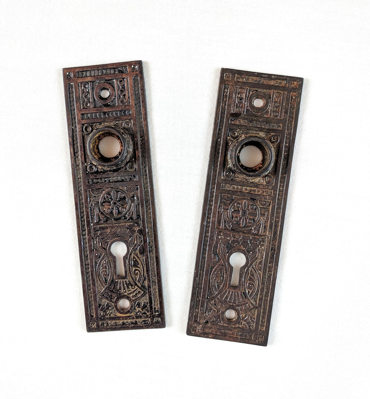 Pair Of Victorian Cast Iron Eastlake Door Knob Backplates