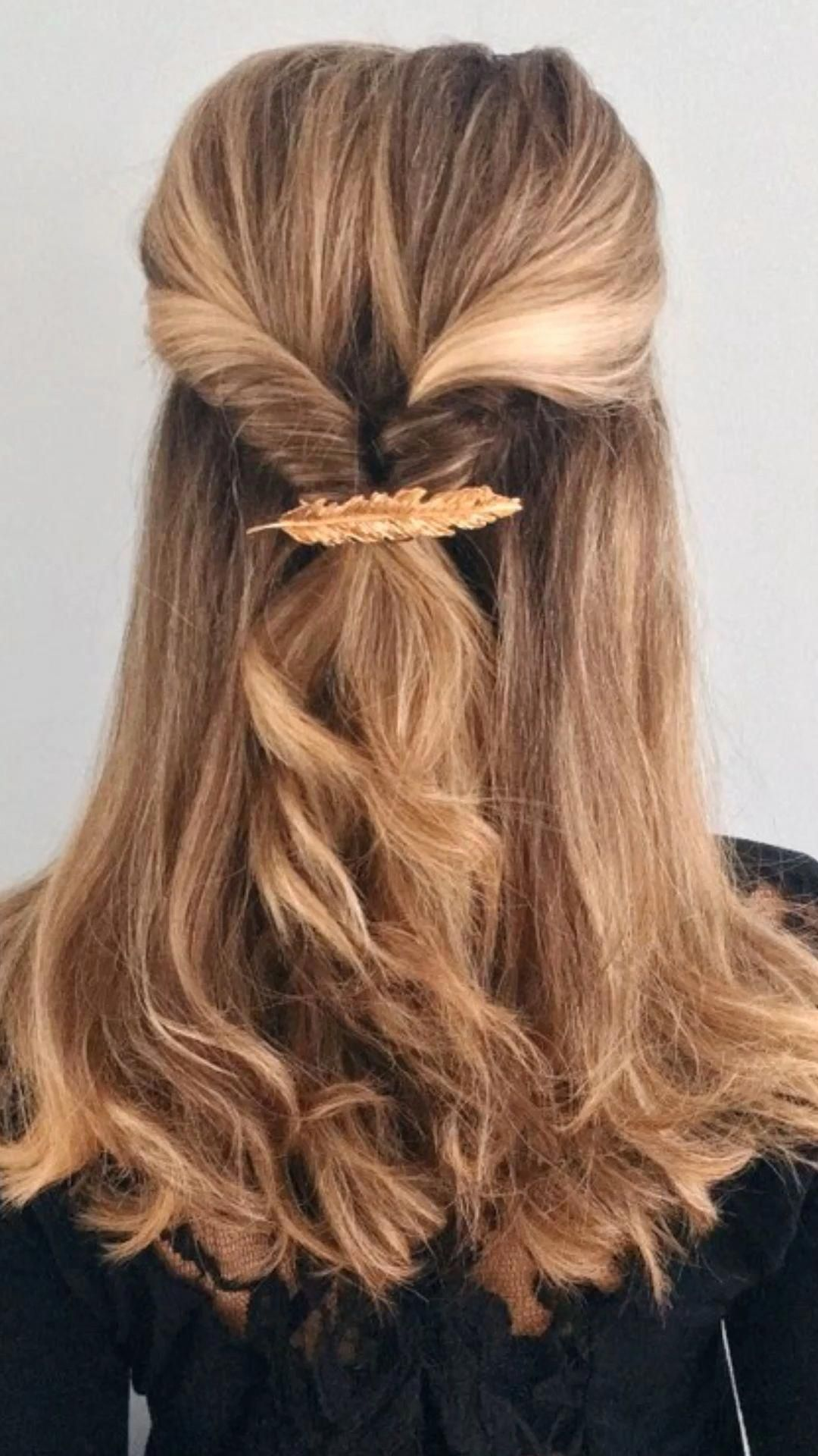 Simple half up do with a Clip - spring hair trends - hair ...