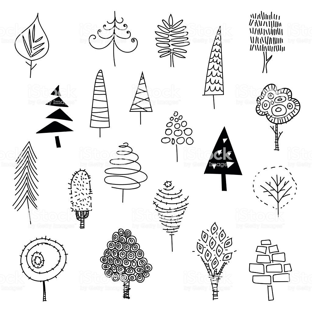 Hand Drawn Christmas Trees Royalty Free Christmas Stock Vector Tree Doodle Tree Illustration How To Draw Hands