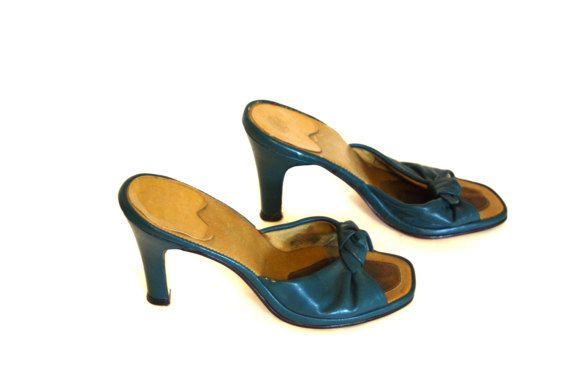 Vintage 60s Teal Leather Mules Blue-Green by PosiesForLuluVintage