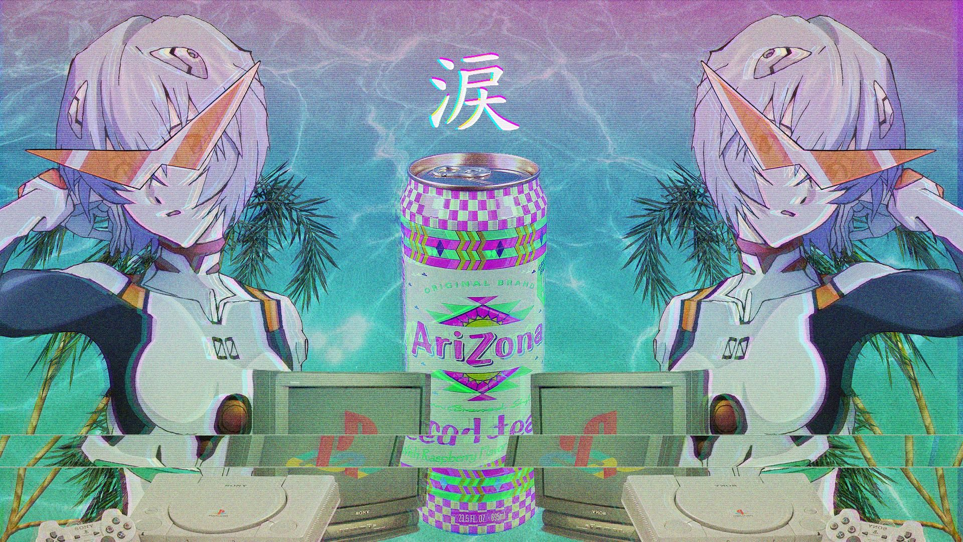 Anime Vaporwave Hd Wallpaper 1920x1080 Id 57106 Vaporwave Wallpaper Anime Wallpaper Aesthetic Anime