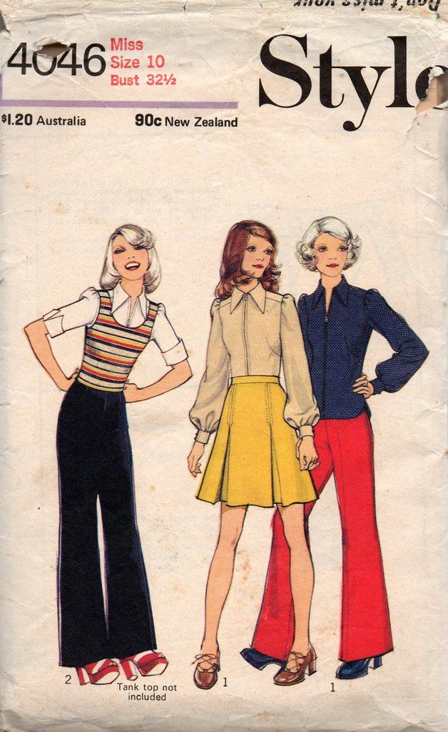 Style 4046 Womens Boho Skirt Blouse & Pants 70s Vintage Sewing ...