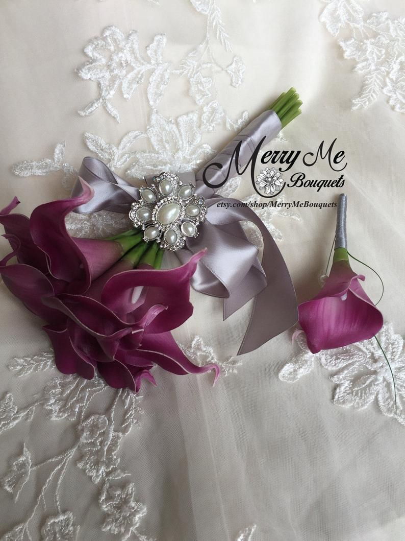 Plum Bridal Bouquet - Plum Calla Lily Bridal Bouquet - Purple and Silver Bouquet - Calla Lily Bouquet - Plum Bouquet #bridalbouquetpurple