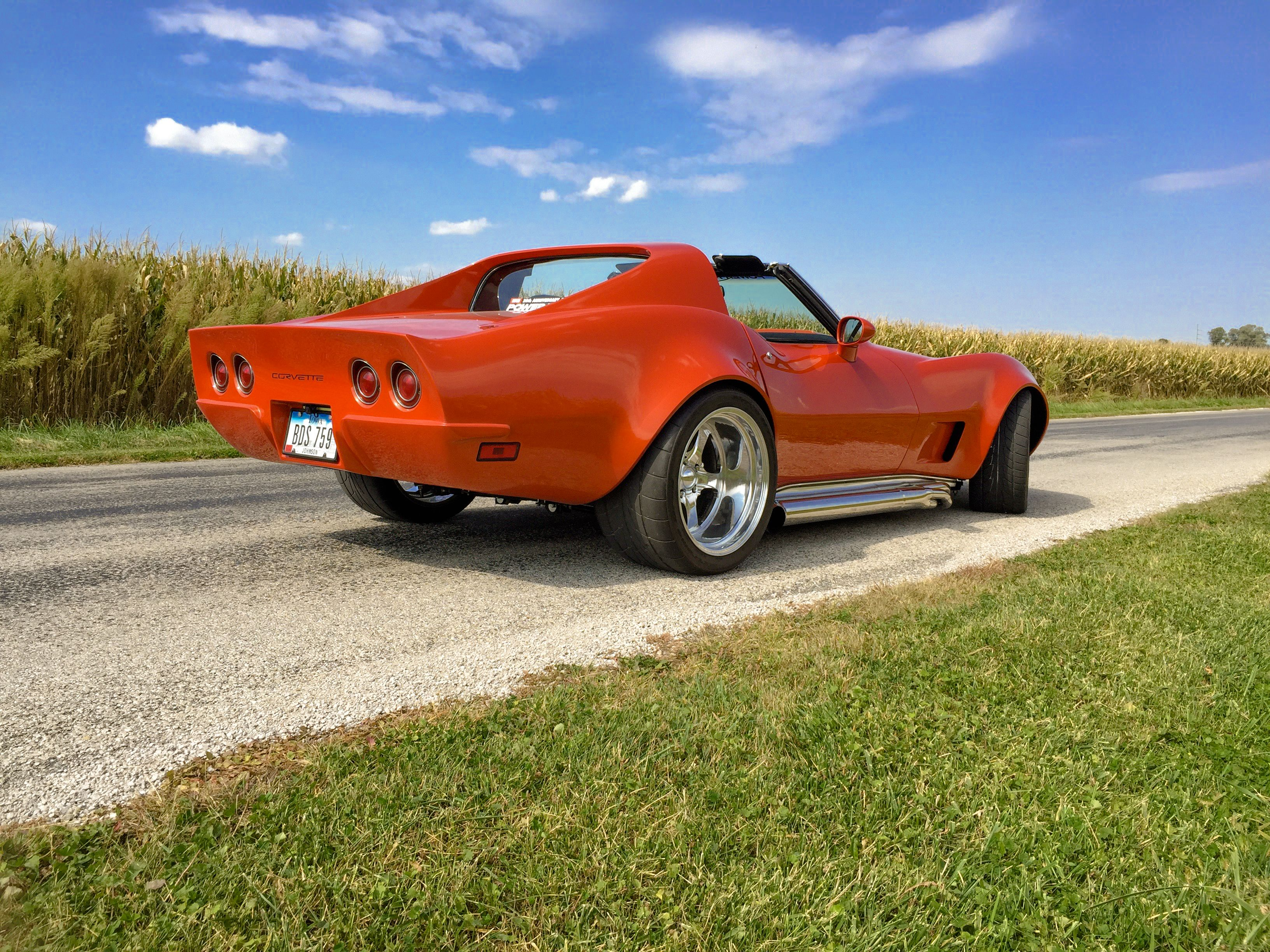 76 vette with custom image flares and back end inferno orange ls1 richmond six speed vbp suspension 76 corvette stingray pinterest