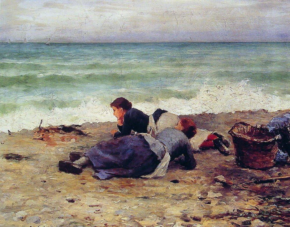 'エトルタシュールメール', オイル バイ Daniel Ridgway Knight (1839-1924, United States)