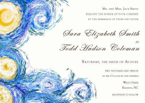 starry night digital wedding invitation van gogh by blackwhisker, Wedding invitations