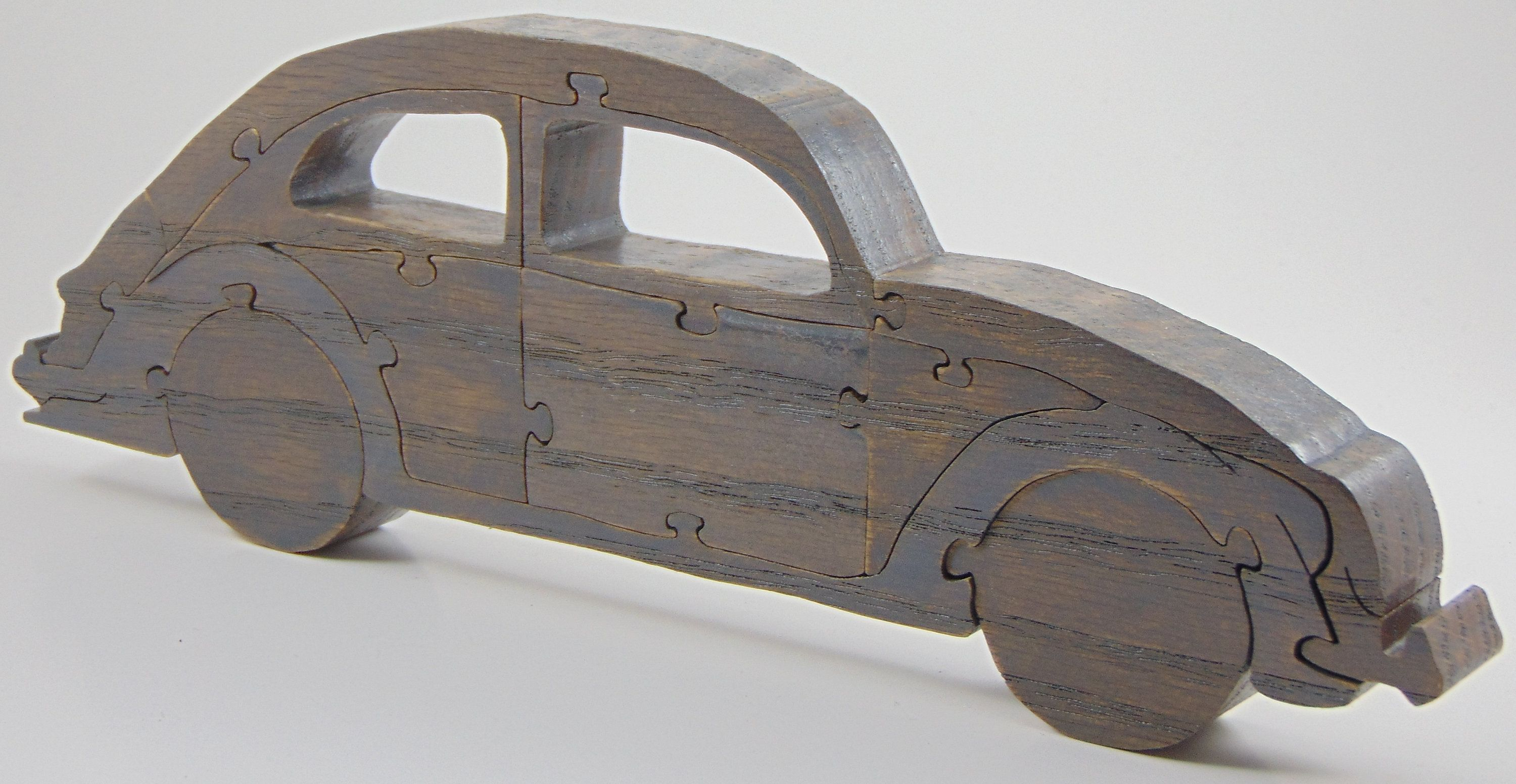 Rustic VW Beetle Toy Car Puzzle, Classic Car, Volkswagen
