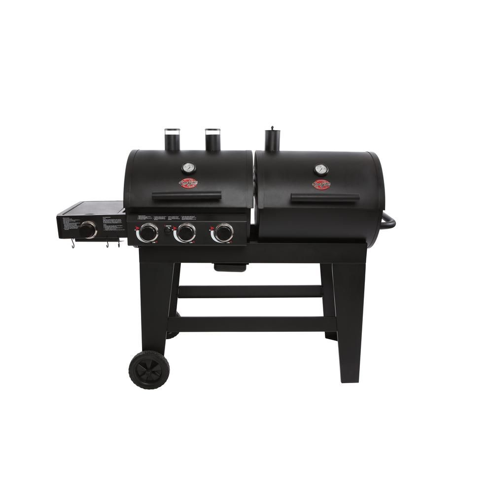 Char Griller Double Play 1 260 Sq In 3 Burner Gas And Charcoal Grill In Black 5650 The Home Depot In 2020 Gas And Charcoal Grill Charcoal Grill Double Play