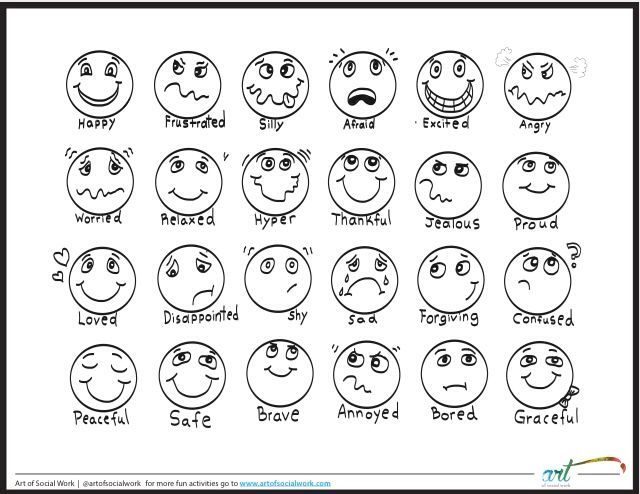 Printable feelings chart that students can color. Covers