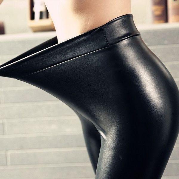 14e83a7f0cc26d Women Shiny Metallic High Waist Pants Black Stretchy faux Leather Leggings