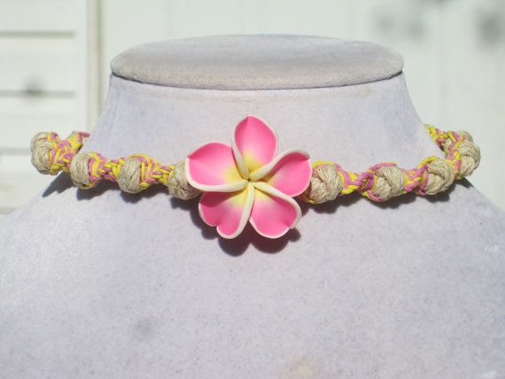 Plumeria Flower Polymer Clay Hemp Choker by Jenstylehemp on Etsy