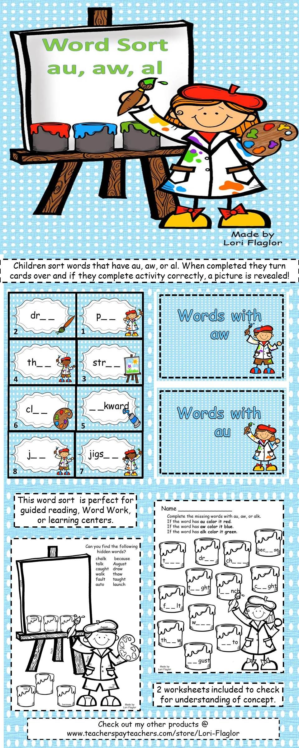 Worksheet Au Words 1000 images about au aw words on pinterest astronauts student and literacy centers