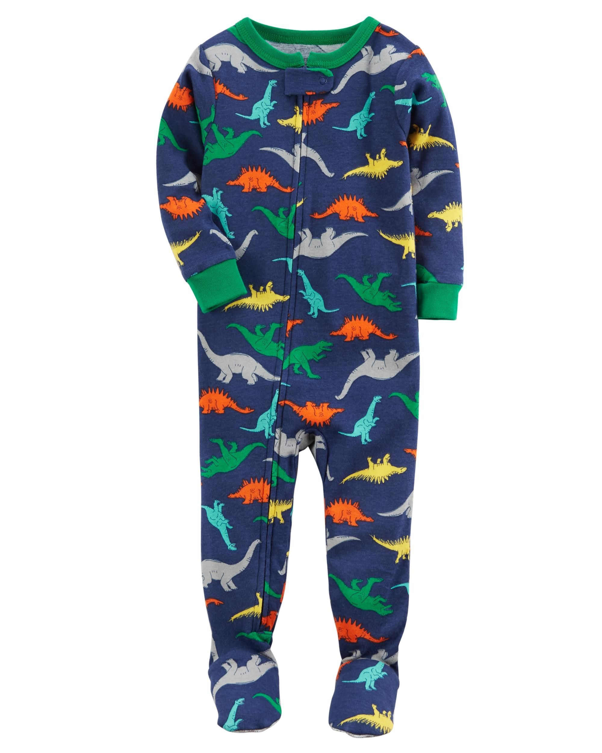 6a1f71d1d 1-Piece Dinosaur Snug Fit Cotton PJs