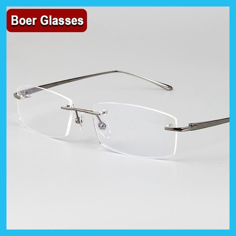 fe78bf7bd9c New Arrivals Business Eyewear 100% pure titanium male rimless Eyeglasses  frame light weight recipe RXable 6379 size 55-17-140