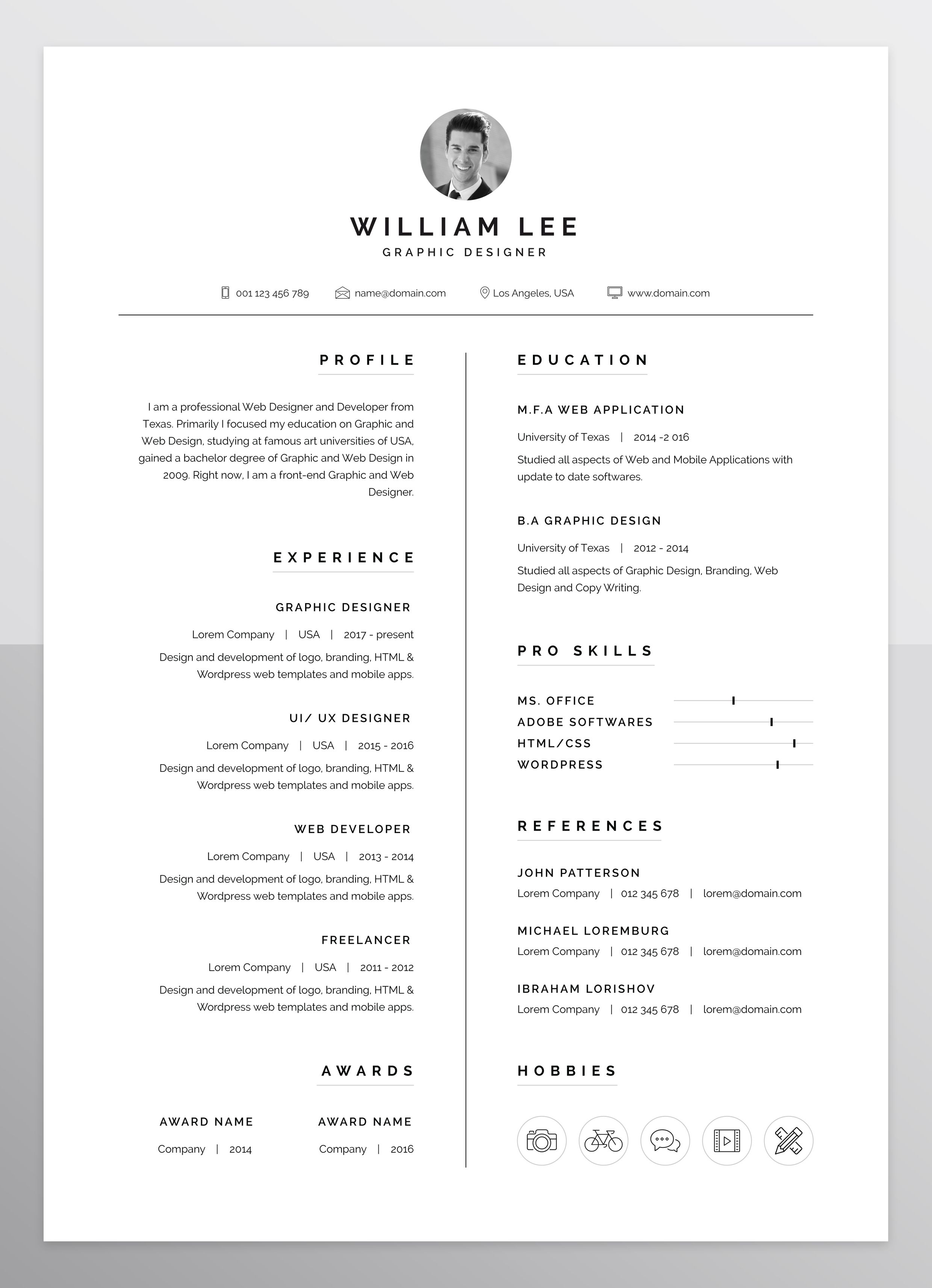 a simple, clean, minimal and professional design of Resume