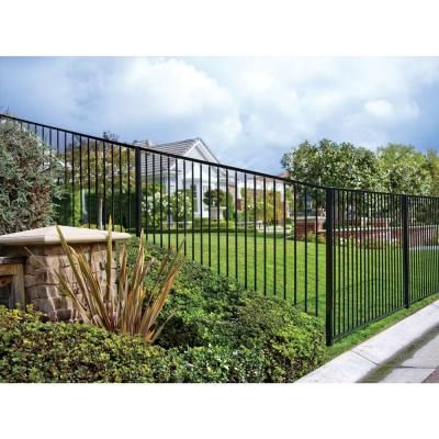 First Alert Premium Series 4 Ft H X 8 W Black Galvanized Steel 2 Rail Fence Panel F3ghdg92x44 The Home Depot