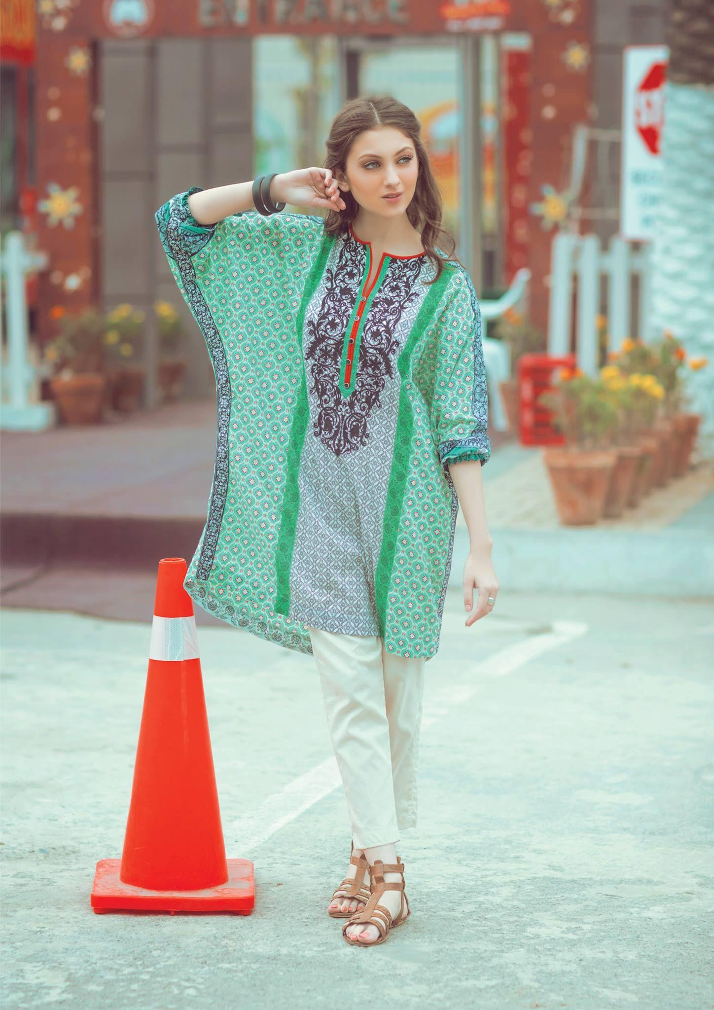 588c7c4c0d AlKaram Studio Bat sleeve kurti Green. AlKaram Studio Bat sleeve kurti  Green Pakistani Dresses ...