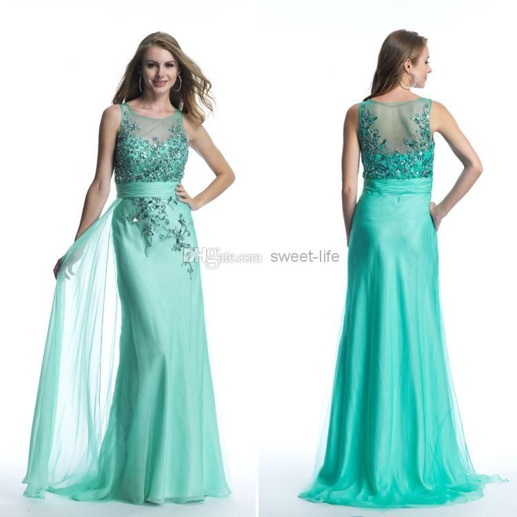 Cheap Wedding Accessories - Discount Fashion Mint Long Prom Dresses ...