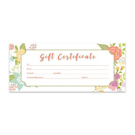 Floral Gift Certificate Download Flowers Premade Gift Certificate