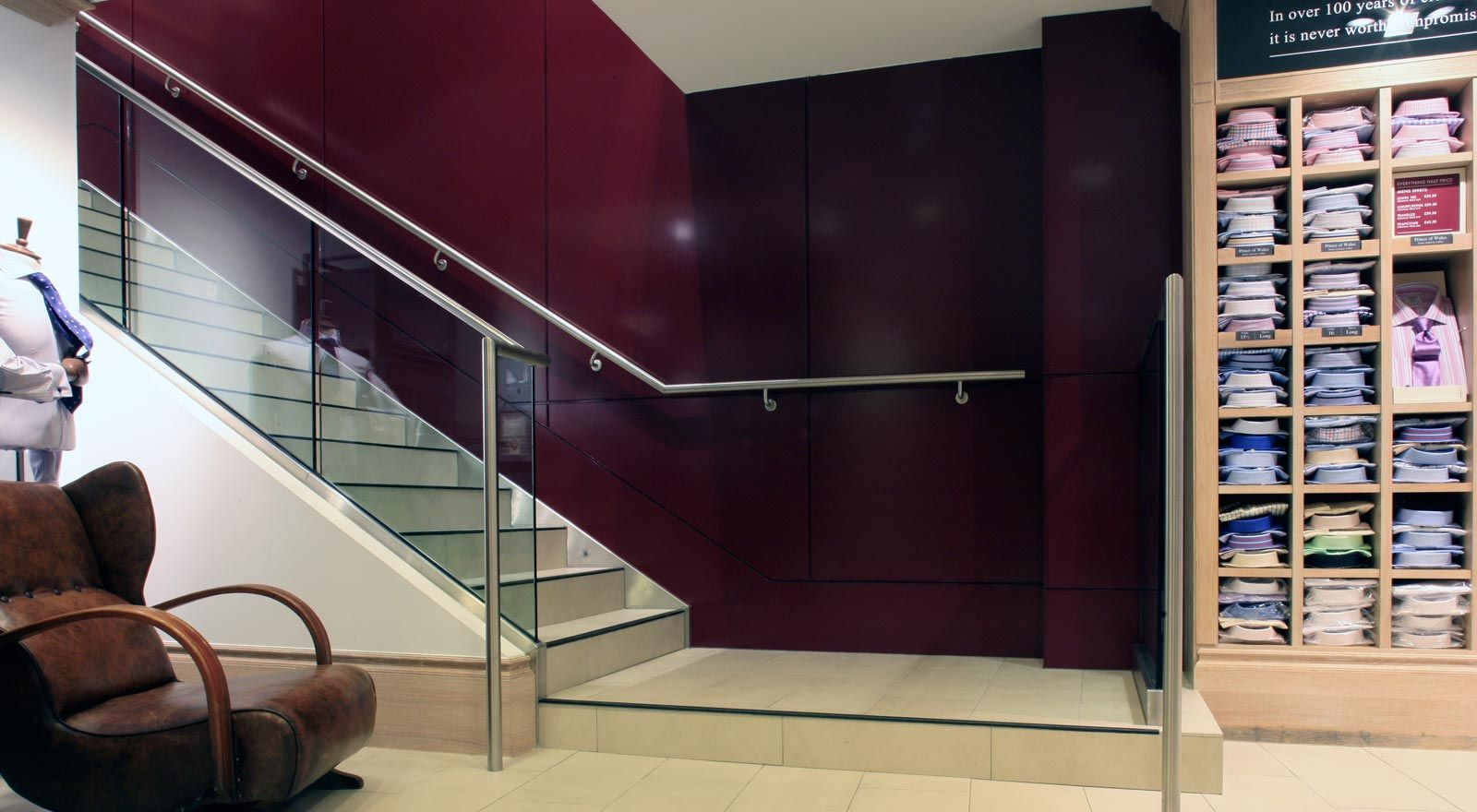 Stainless Steel Handrail And Mild Steel Structure Retail
