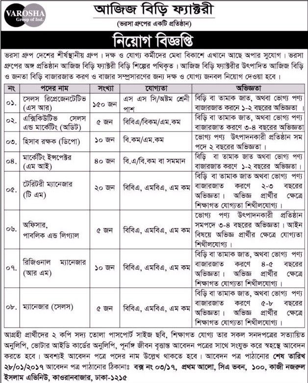245 Vacancy Akij Biri Factory Limited Job Circular Job Circular - sales marketing executive job description
