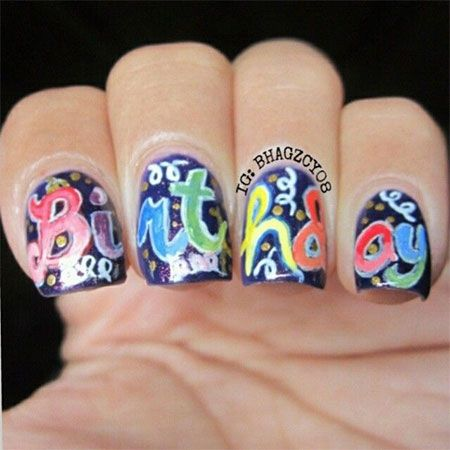 happy birthday nail art design