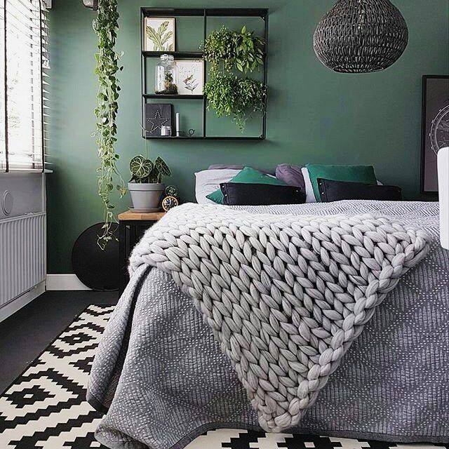 Silver Grey Throw Chunky Cotton Strong And Washable Handmade Green Bedroom Walls Grey Green Bedrooms Home Decor Bedroom
