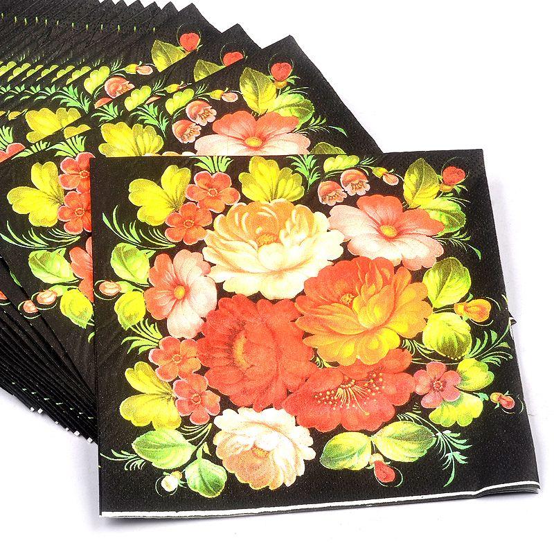 New High Grade Vintage Black Flower Paper Napkins Cafe Party Tissue Napkins Decoupage Decoration Paper 33cm 33cm Paper Serviettes Paper Napkins Decoupage Paper