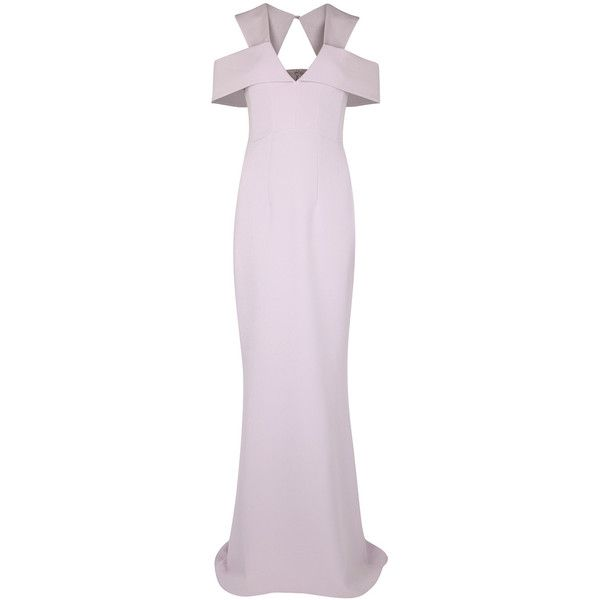 SAFiYAA Lavender open-shoulder gown ($1,510) ❤ liked on Polyvore featuring dresses, gowns, cut-out shoulder dresses, lavender evening dresses, pink dress, open shoulder dress and cut out dresses