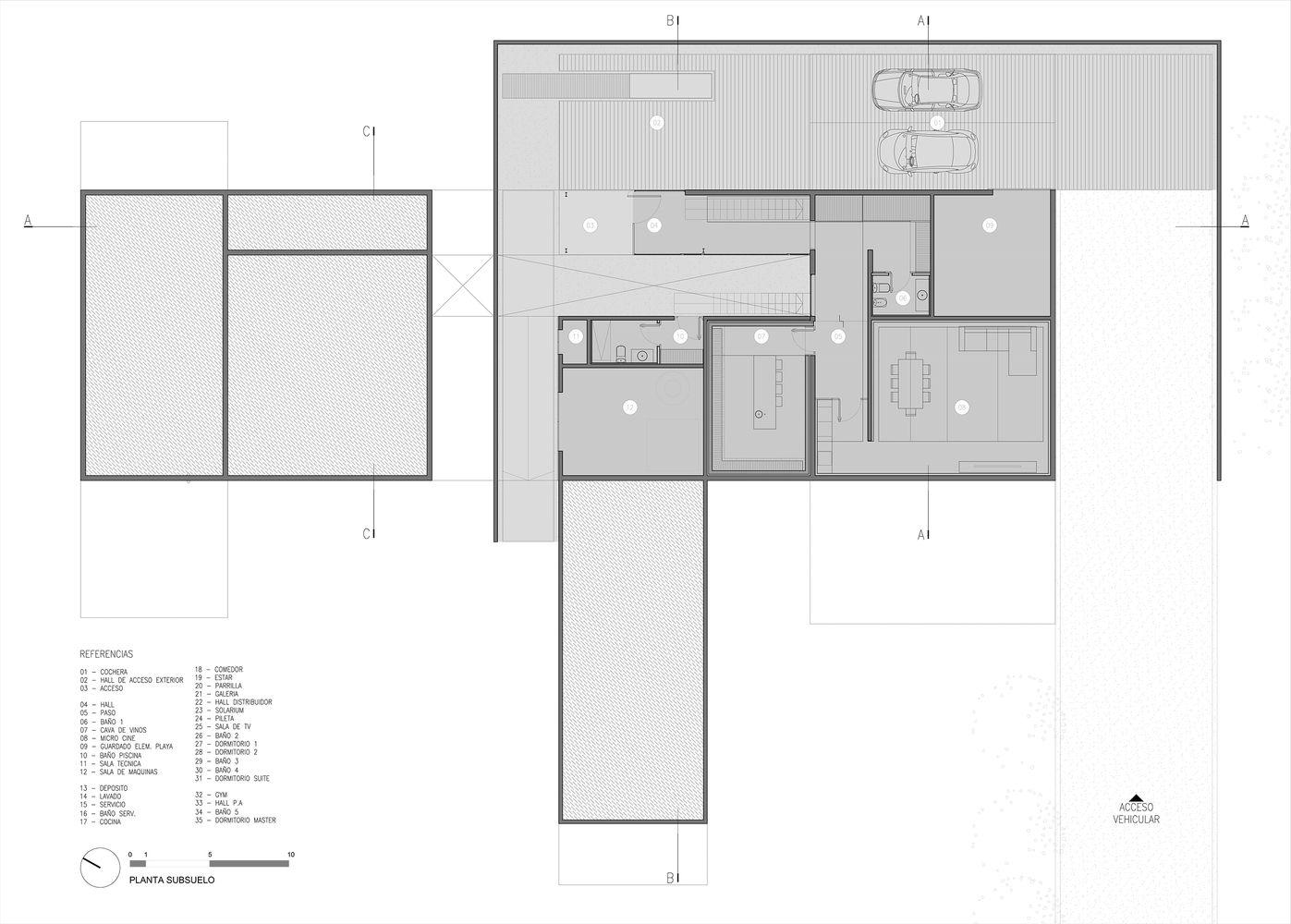 house in the lake a4estudio floor plan b [ 1397 x 1000 Pixel ]