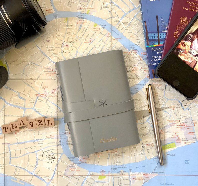 A6 Grey Personalised Leather Travel Journal Personalized