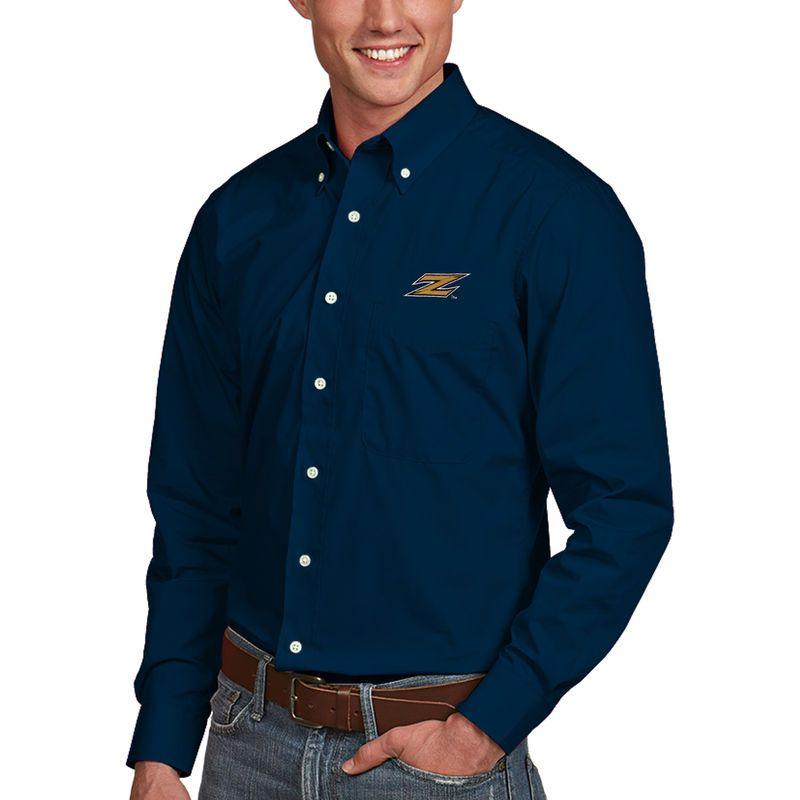Akron Zips Antigua Dynasty Woven Long Sleeve Button-Down Shirt - Navy f397e2b1a