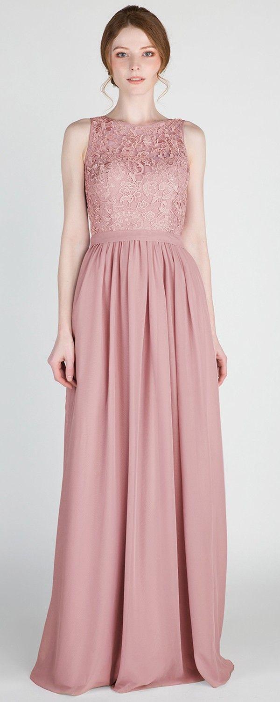 Full Length Sleeveless Lace and Chiffon Bridesmaid Dress with ...