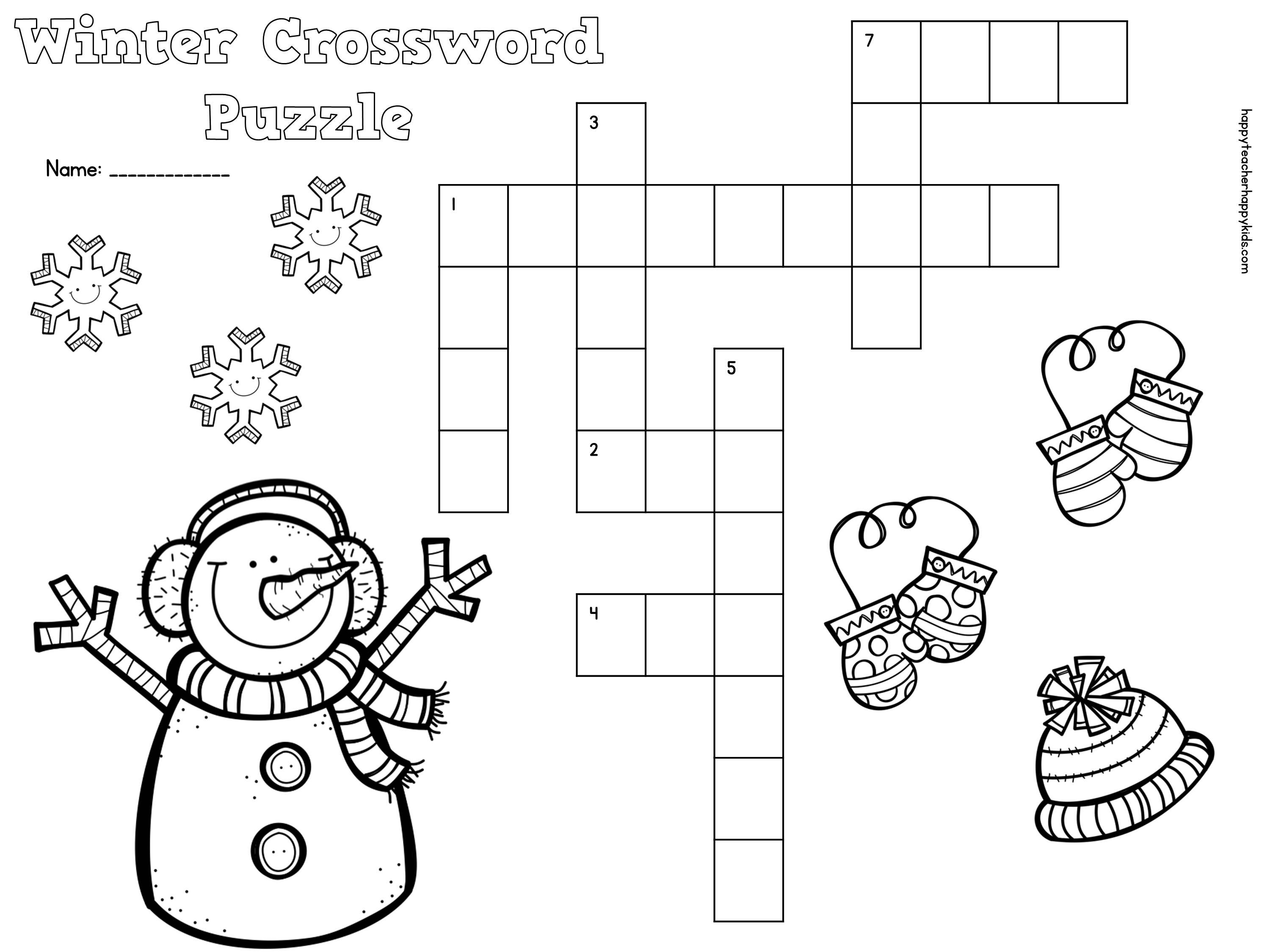 free winter crossword puzzle for primary students snow penguins mittens january ideas. Black Bedroom Furniture Sets. Home Design Ideas