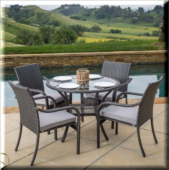 Patio Dining Set 5 Piece Outdoor Garden Furniture Round Glass Table ...